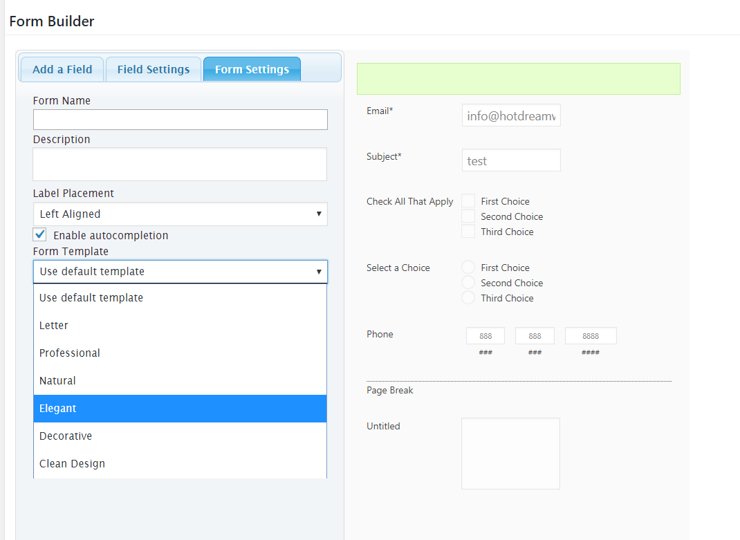 selecting form templates
