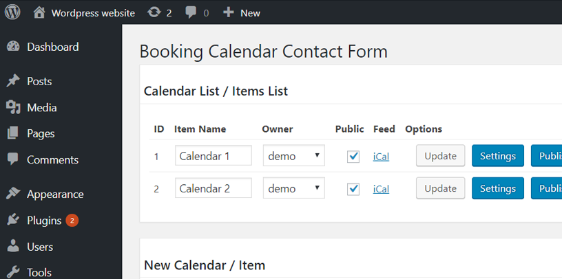 Assign users to calendar